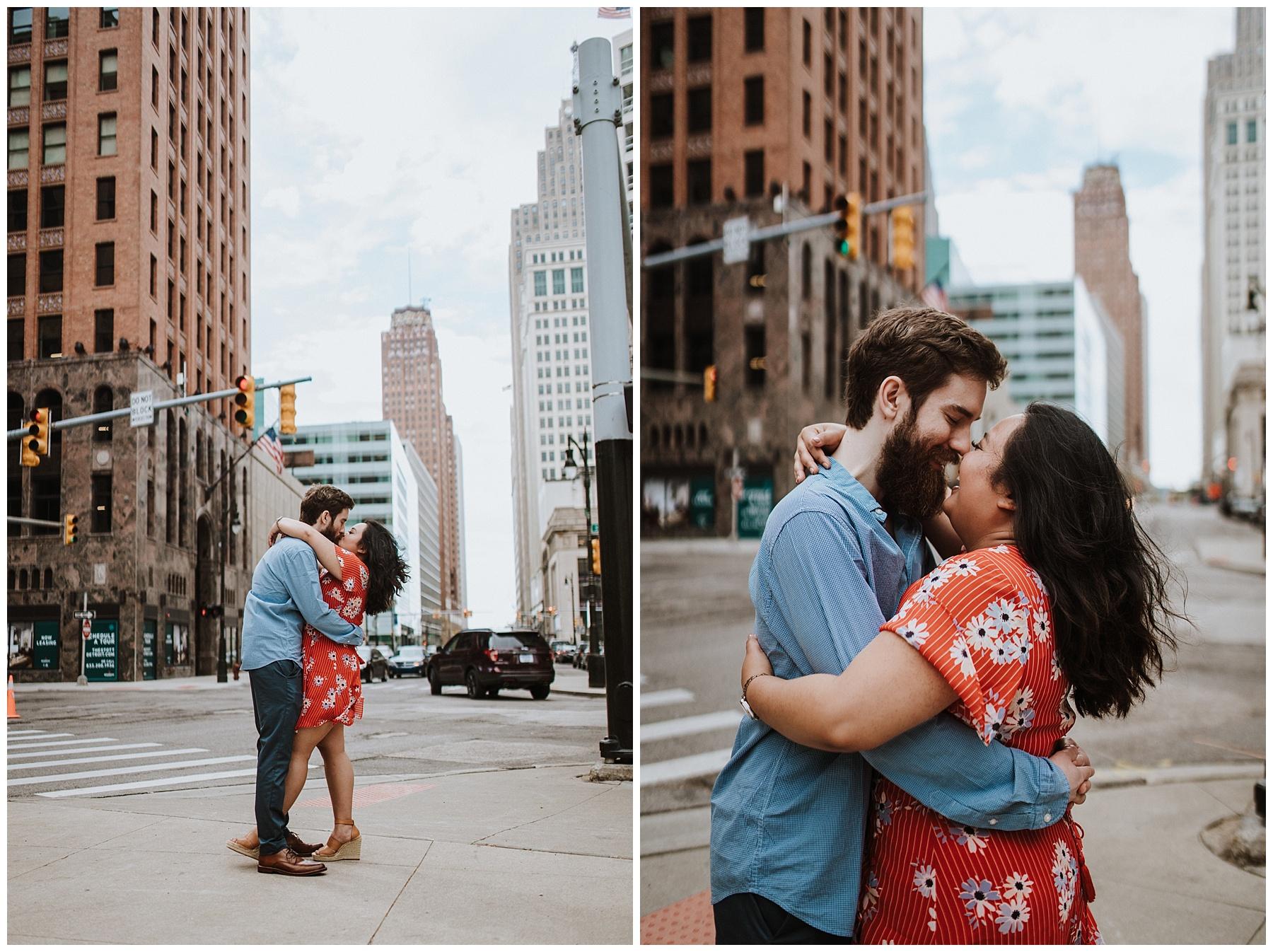 downtown detroit engagement session